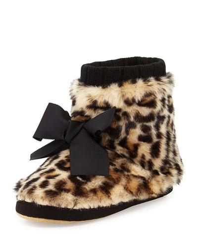 Fabian Faux-Fur Bootie Slipper, Leopard