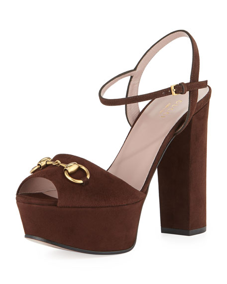 3d8094809e53 Gucci Suede Horsebit Platform Sandal