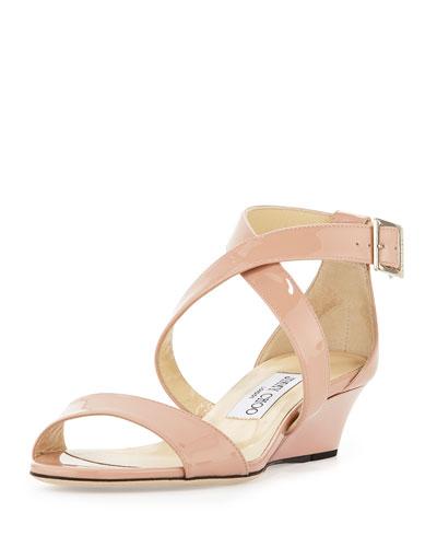 Chiara Demi-Wedge Crisscross Sandal, Blush