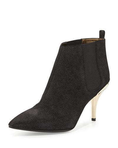 Lizard-Embossed Ankle Boot, Black