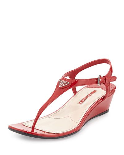 Patent Logo Wedge Thong Sandal, Rosso