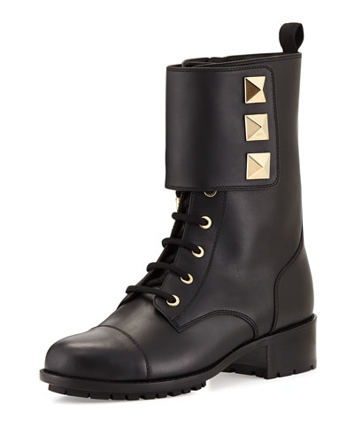 Rockstud Leather Combat Boot, Black