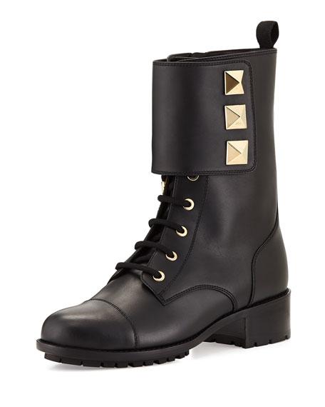 c1b165d6fab Valentino Rockstud Leather Combat Boot, Black