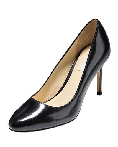 Bethany Almond-Toe Leather Pump, Black
