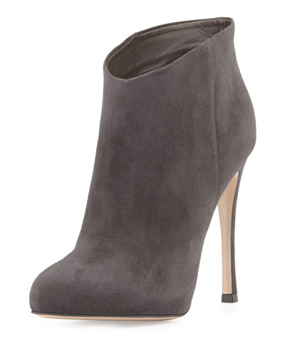 Slip-On Suede Ankle Bootie, Gray