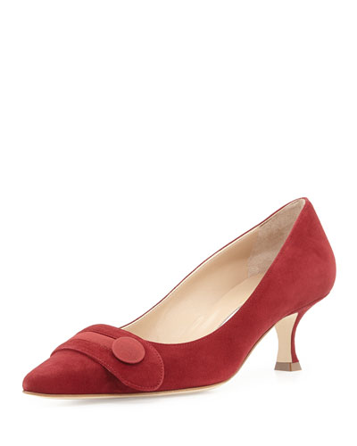 Scani Suede Button Pump, Red