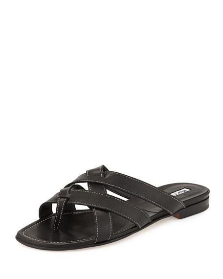 90549995662139 Manolo Blahnik Lascia Woven Leather Thong Sandal