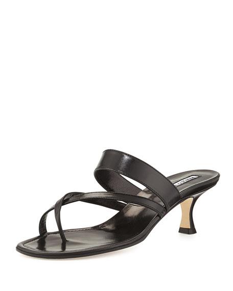 6ade74492207c Manolo Blahnik Susa Low-Heel Thong Slide Sandal