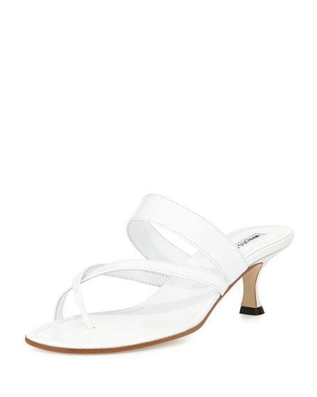 34e658b0358 Susa Low-Heel Thong Slide Sandal White