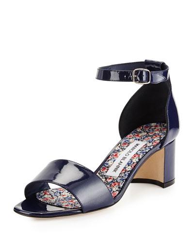 Lauratom Shimmer Patent Ankle-Wrap Sandal