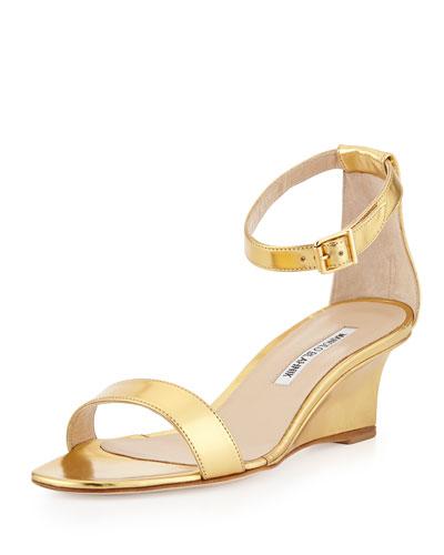 Valere Metallic Demi-Wedge Sandal, Gold