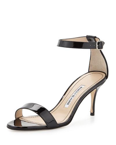 Chaos Patent Ankle-Wrap Sandal, Black