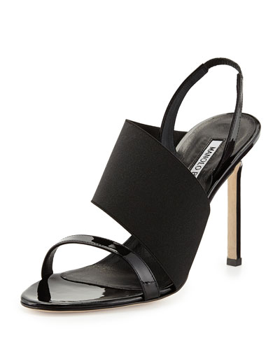 Petto Patent Crossover Sandal, Black