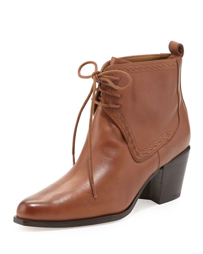 Frontier Lace-Up Ankle Bootie, Brown