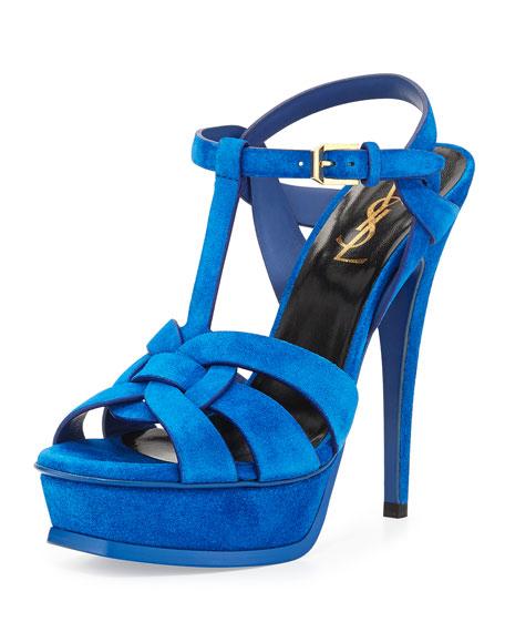 Blue Platform Sandals Laurent Suede Electric Tribute Saint AwTtXx7nnq