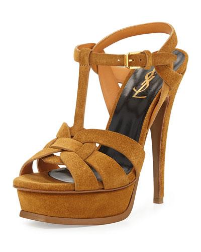 Tribute Suede Platform Sandal, Tan