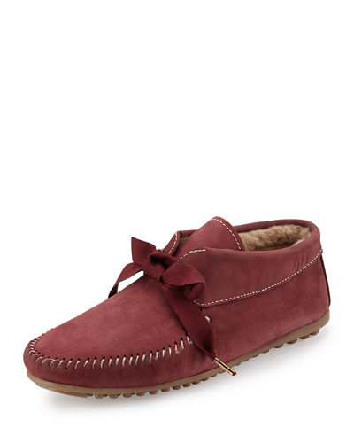 Daphne Lace-Up Moccasin Boot, Burgundy