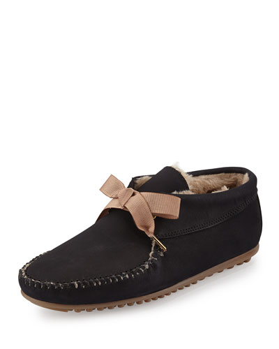 Daphne Lace-Up Moccasin Boot, Black