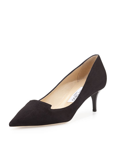 Allure Pointed Suede Loafer Pump, Black