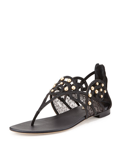 Mixed-Media Flat Thong Sandal