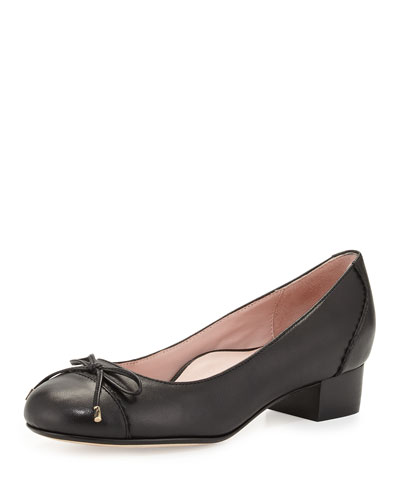 Jerome Nappa Leather Cap-Toe Pump, Black