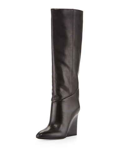 Cartel Leather Wedge Knee Boot, Black