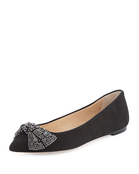 e1cfda369df Tory Burch Vanessa Suede Crystal-Bow Flat