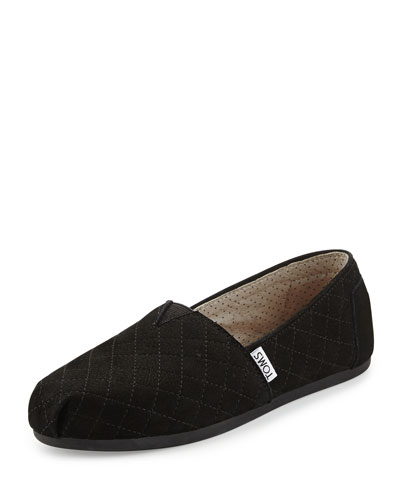 Quilted Leather Slip-On, Black