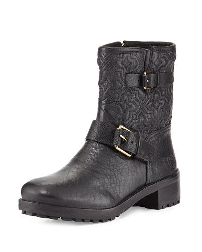 Chrystie Trapunto-Stitched Ankle Boot, Black