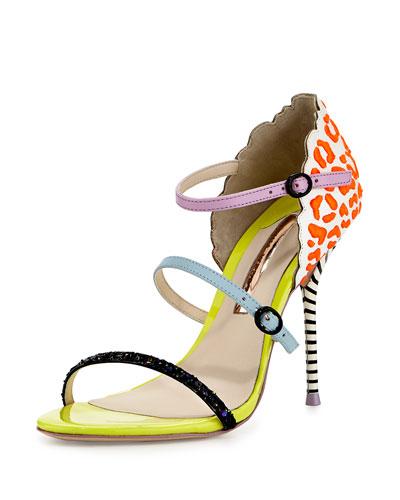 Sophia Webster  LaBelle Multi-Strap Sandal, Coral/White