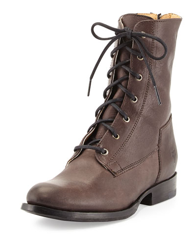 Jamie Leather Lace-Up Boot, Gray