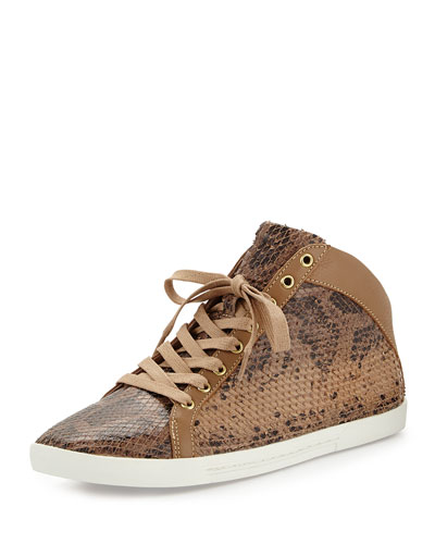 Felton Python-Print Sneaker, Putty Buff