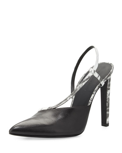 Kayla Asymmetric Leather Pump with Slingback, Black/White