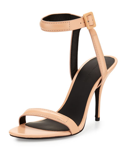 Antonia Lizard-Print Leather Sandal, Sandstorm Nude