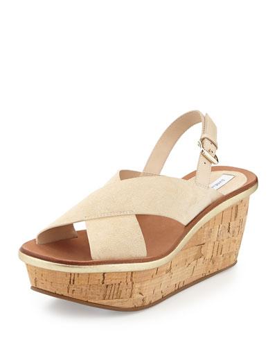 Maven Suede Wedge Sandal, Nude