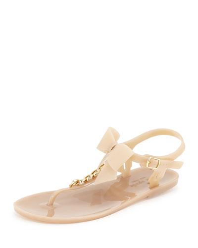 flise jelly bow thong sandal, dusty mauve