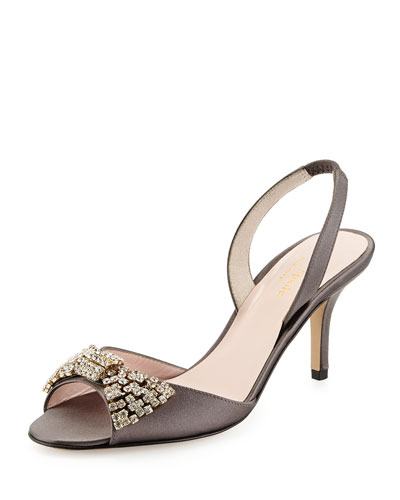 miva satin crystal bow sandal, gray
