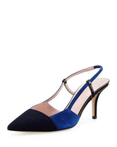 jupiter two-tone slingback pump, navy/cobalt