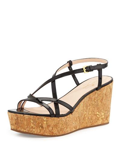 talanse strappy patent wedge sandal, black