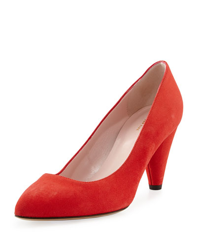 yanni suede mid-heel pump, maraschino red