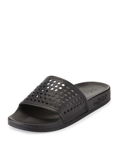 Cat Perforated Slide Sandal, Black