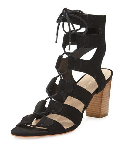 Thea Suede Lace-Up Sandal, Black