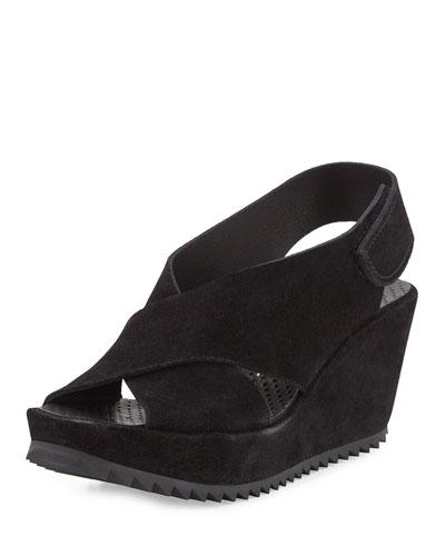 Federica Suede Wedge Sandal, Black
