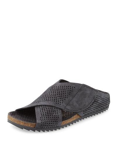 Alena Perforated Slip-On Sandal, Coal