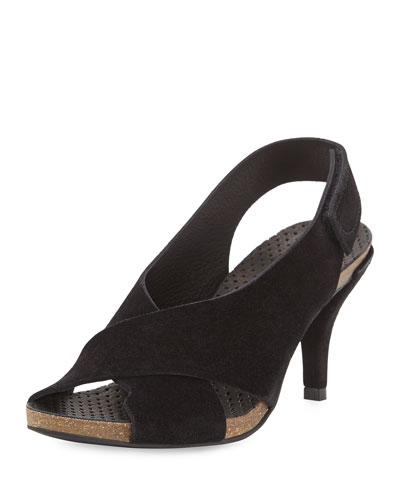 Mel Crisscross Low-Heel Sandal, Black