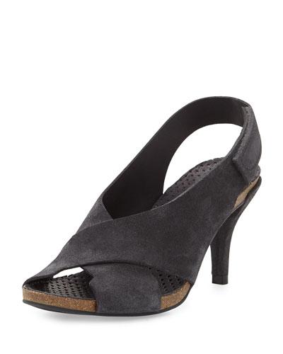 Mel Suede Crisscross Sandal, Coal