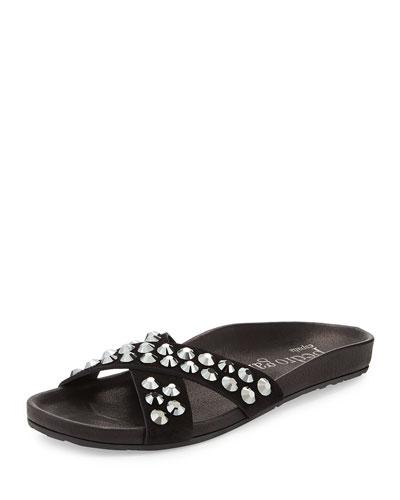 Analis Flat Crystal Slide Sandal, Black
