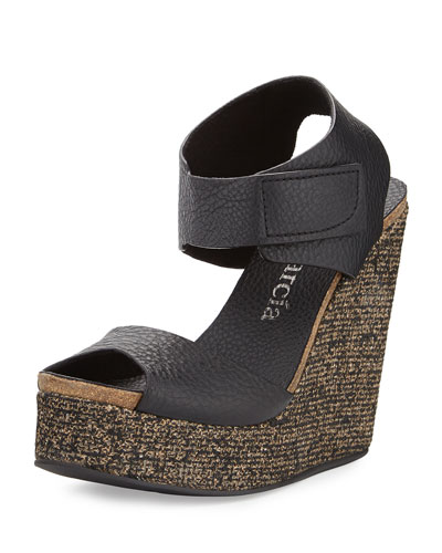Triana Leather Wedge Sandal, Black