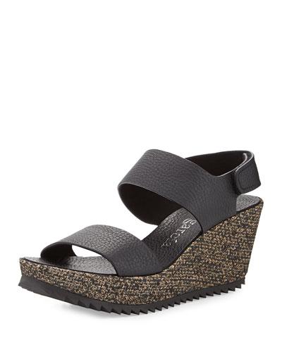 Fiona Leather Mid-Wedge Sandal, Black