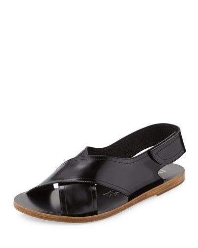 Zalea Leather Crisscross Flat Sandal, Black
